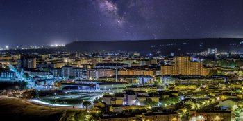Palencia de noche (fotomontaje)